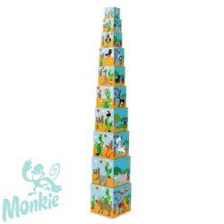 Toronyépítő kocka  A világ állatai 10 db -os  STACKING TOWER JUMBO Animals of the World Scratch