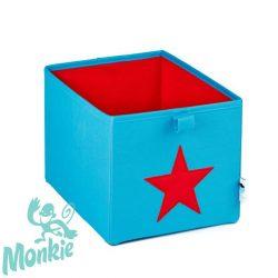 Store !T Kocka Tároló türkisz/piros csillag  játéktároló
