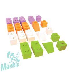 Bigjigs összepattintós kocka - élénk színek - kezdő csomag