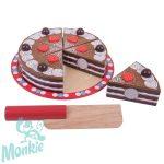 Bigjigs szeletelhető csokoládétorta fából - új design!