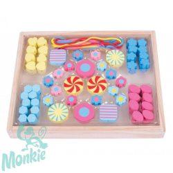 Bigjigs színes gyöngyök - cukorkák - gyöngyfűzéshez