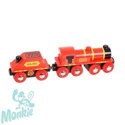 Bigjigs piros mozdony és szenes vagon