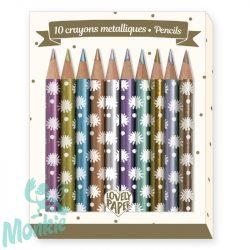 Djeco Mini metálszínű ceruza, 10 szín - 10 Chichi mini metalic pencils