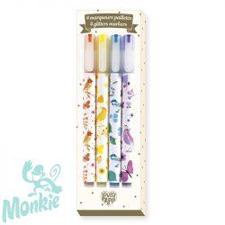 Djeco Csillámtoll, 4 szín - 4 Tinou glitter markers