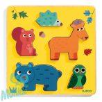 Djeco - Formaillesztő, formaberakó fa játék - Erdei állatok