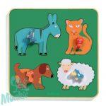 Djeco Family Farm - Formaillesztő, formaberakó fa játék tanyán élő állatokkal