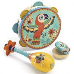 Djeco Játékhangszer készlet - Tambourine, maracas, castanet