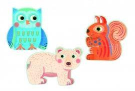 Djeco In the forest - 9, 12, 16 pcs - Nagyméretű puzzle- Erdei állatok
