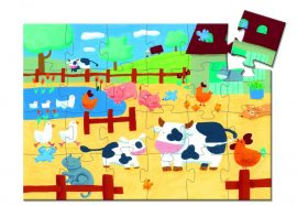 Djeco Formadobozos puzzle - Bocik és tehenek - The cows on the farm