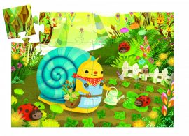 Djeco Formadobozos puzzle - Csiga-biga virágot szed - Snail goes plant picking