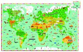 Djeco Around the world + booklet - Világtérkép puzzle