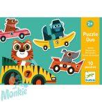 Djeco párosító puzzle- Autók állatokkal