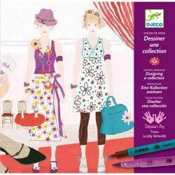 Djeco Divattervező műhely - Ruhatervező rajzkészlet - Drawing a fashion show