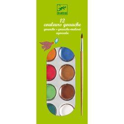 Djeco Gouache festék - 12 klasszikus szín -12 couleurs gouache