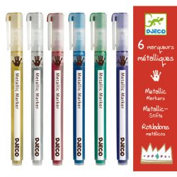 Djeco 6 fémfesték filctoll - 6 metalic markers