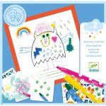 Djeco Little monsters - Rajztanító kreatív készlet- Szörnyecskék