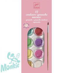 Djeco Korongos gouashe festék - 12 színű - 12 color cakes - pearly