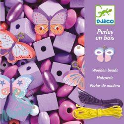 Djeco Fa gyöngyök pillangókkal - Wooden beads, buterflies