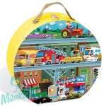 Járművek puzzle bőröndben - 100 db