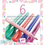 Csillám fílctoll 6 színben - 6 glitter markers - sweet